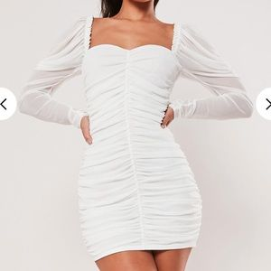 Misguided white runched mini dress